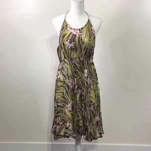 Milly of New York Green Floral Halter Dress